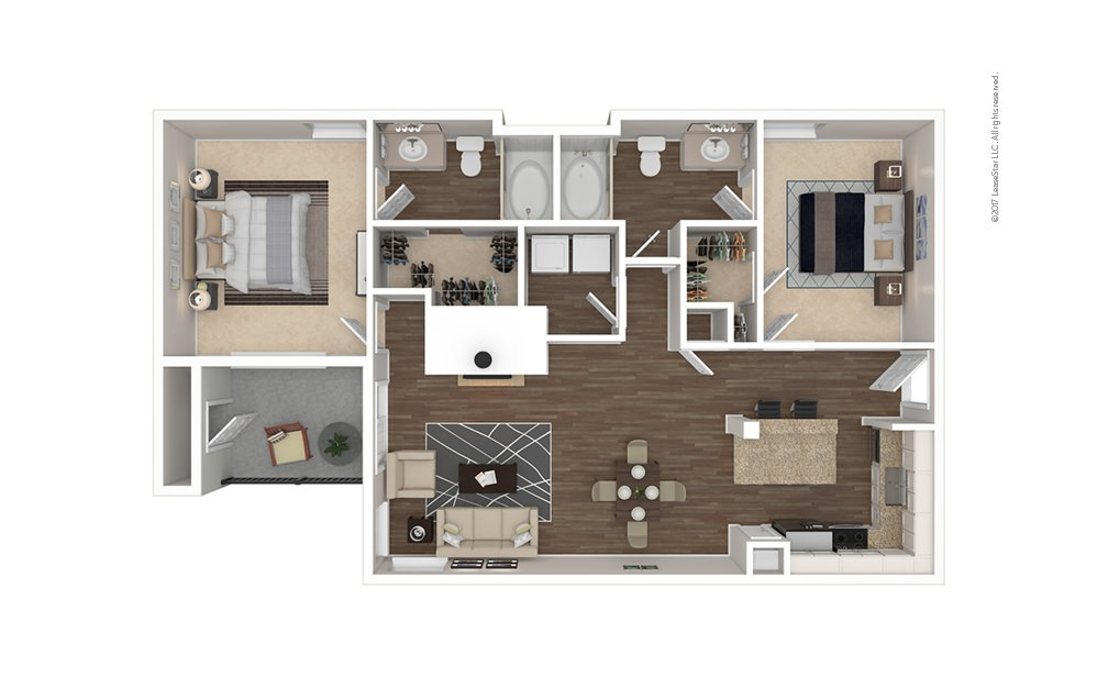 The Lemmon 2 bedroom 2 bath 1049 square feet