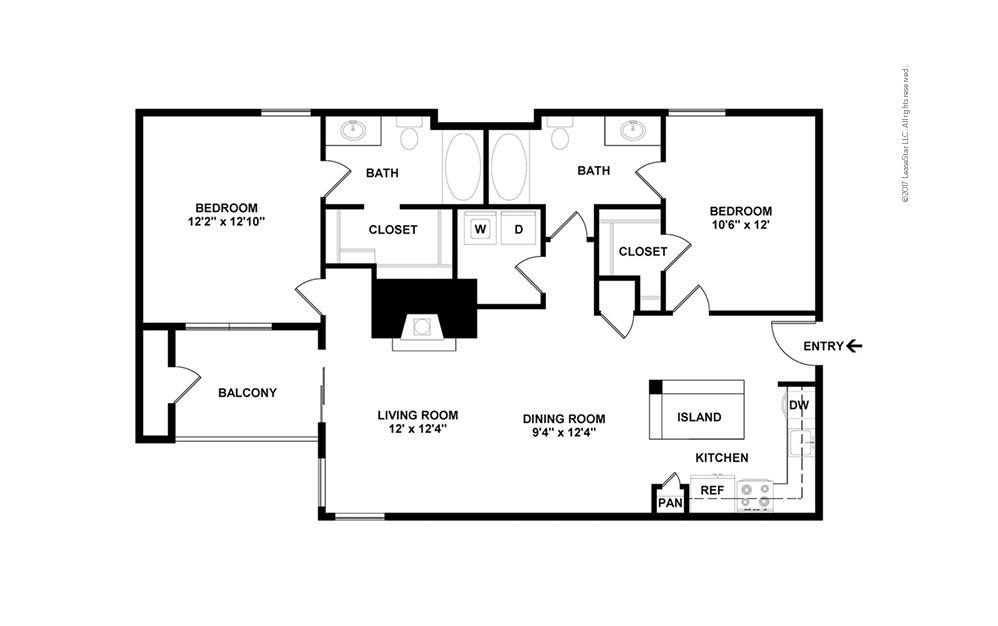 The Lemmon 2 bedroom 2 bath 1049 square feet (2)
