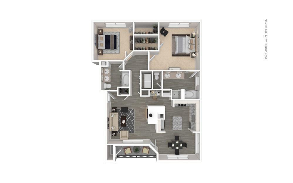 The Texas 2 bedroom 2 bath 1352 square feet