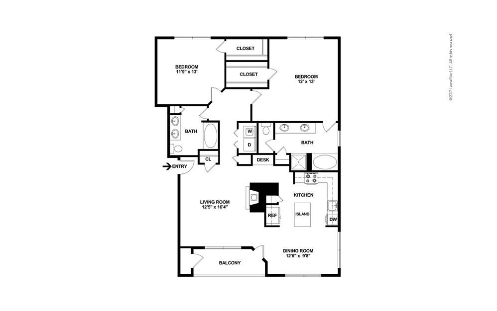 The Texas 2 bedroom 2 bath 1352 square feet (2)