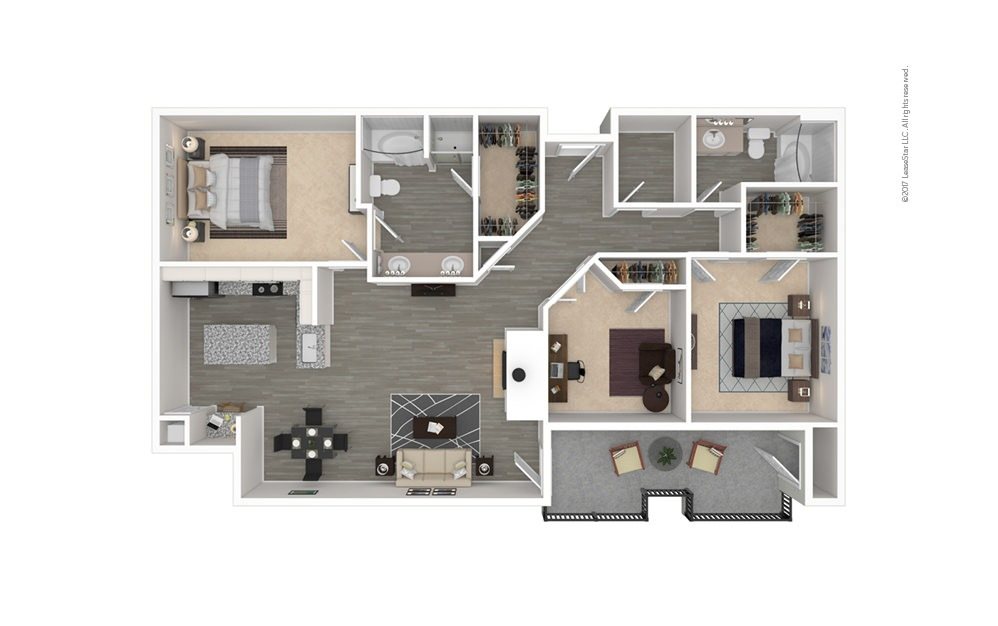 The Uptown 3 bedroom 2 bath 1372 square feet