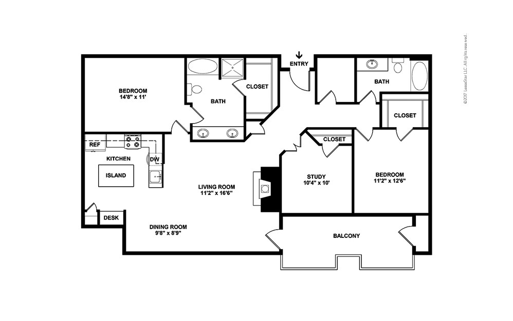 The Uptown 3 bedroom 2 bath 1372 square feet (2)