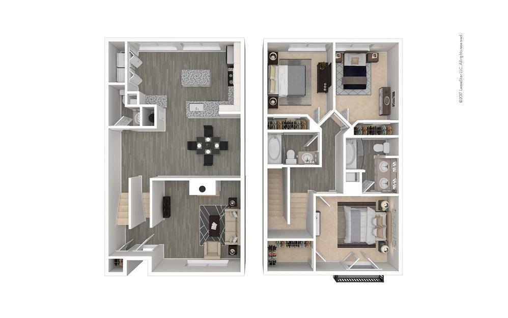 The Warren 3 bedroom 2.5 bath 1444 square feet