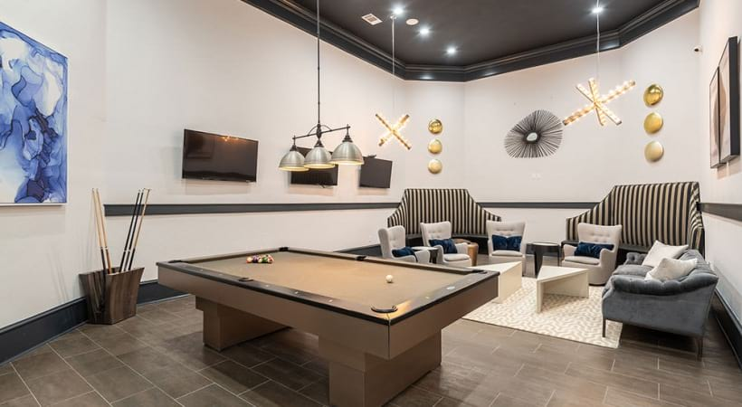 Pool Table and HDTVs at the Bryan Place clubhouse