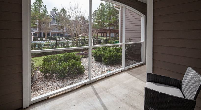 Private patio at our Research Park apartments