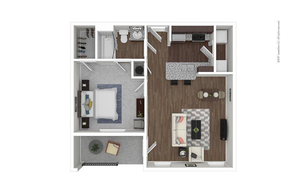 A1 1 bedroom 1 bath 695 square feet