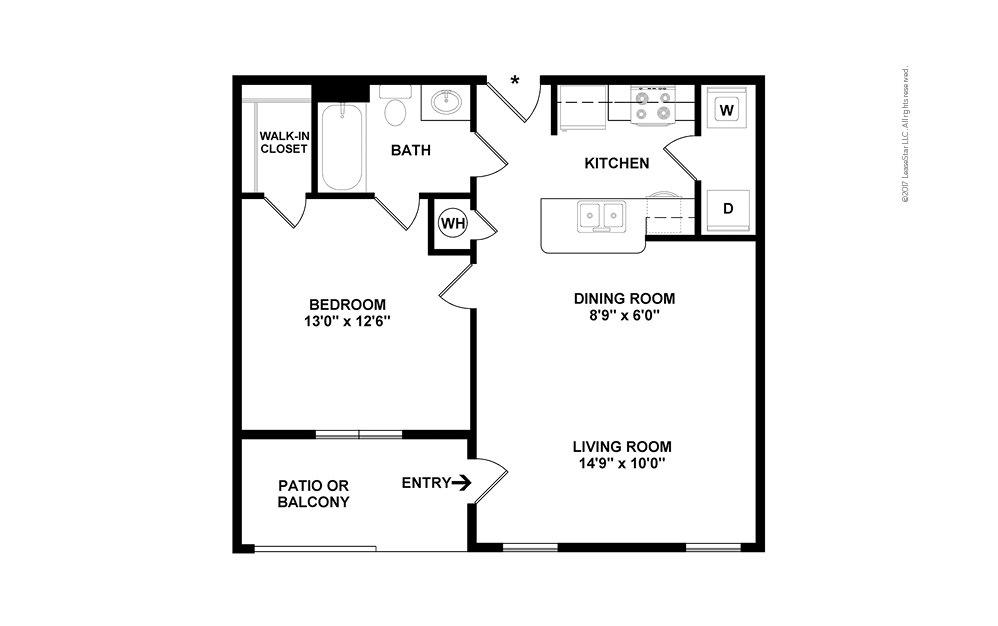 A1 1 bedroom 1 bath 695 square feet (2)