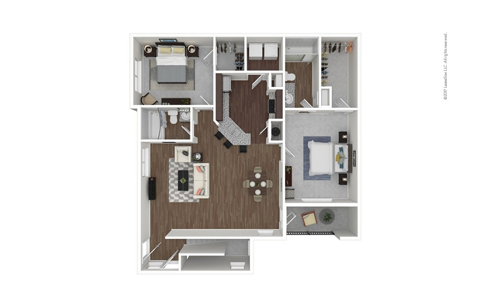 B2B 2 bedroom 2 bath 1282 square feet