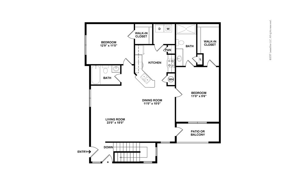 B2B 2 bedroom 2 bath 1282 square feet (2)