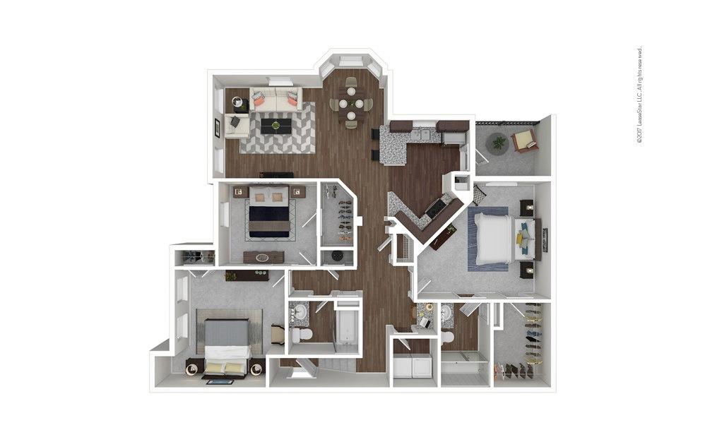 C1B 3 bedroom 2 bath 1585 square feet