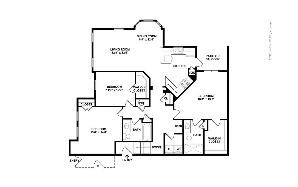 C1B 3 bedroom 2 bath 1585 square feet (2)
