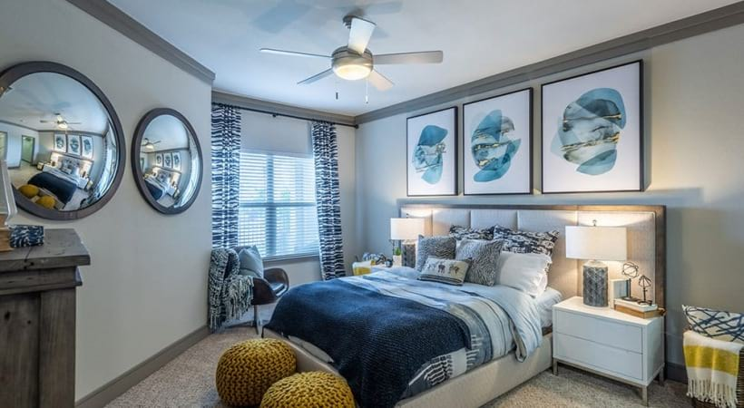 Bedroom with modern decor at our Little Elm apartments
