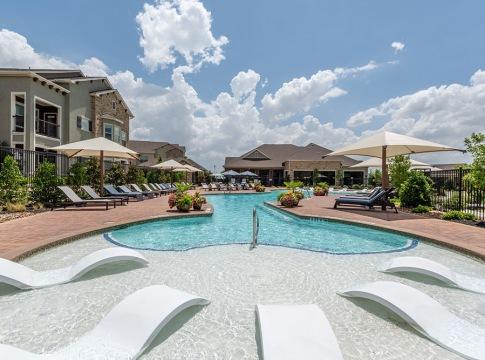 Saltwater pool at apartments in Prosper, TX