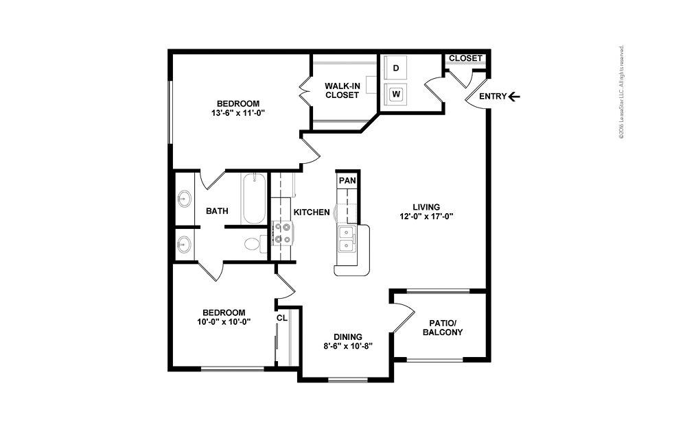 Riverside 2 bedroom 1 bath 905 square feet (2)
