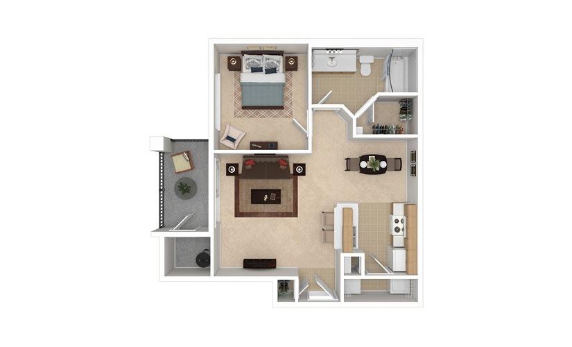 A1 1 bedroom 1 bath 707 square feet
