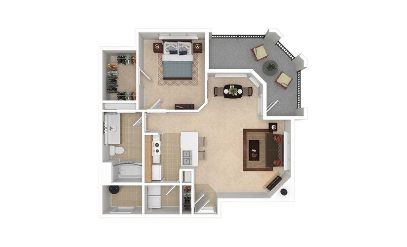 A2 1 bedroom 1 bath 779 square feet