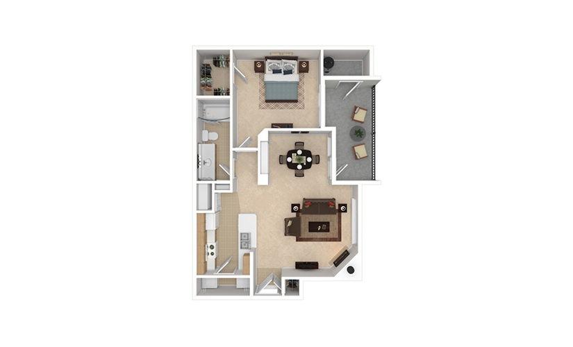 A3 1 bedroom 1 bath 796 square feet