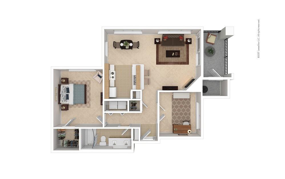 A4 1 bedroom 1 bath 916 square feet