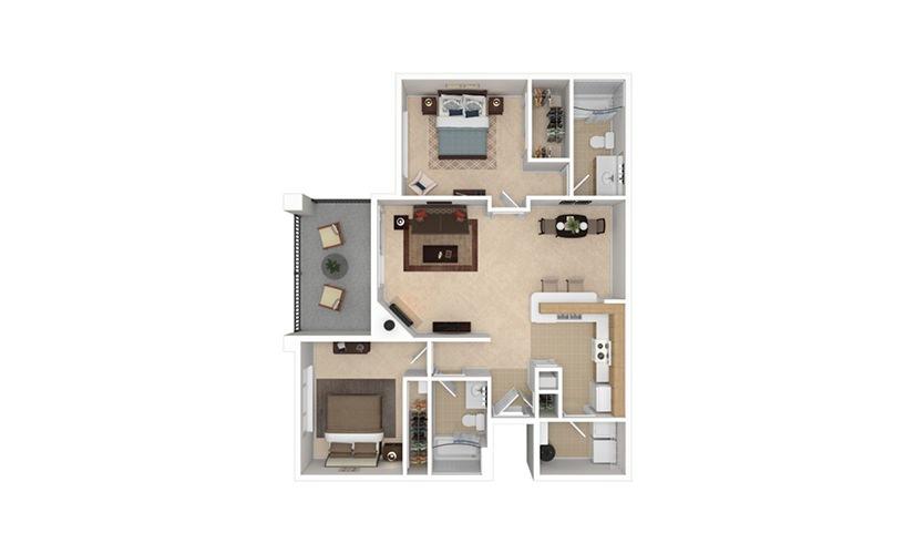 B1 2 bedroom 2 bath 1022 square feet