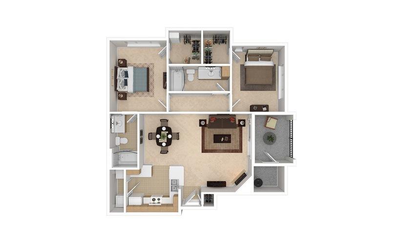 B2 2 bedroom 2 bath 1093 square feet