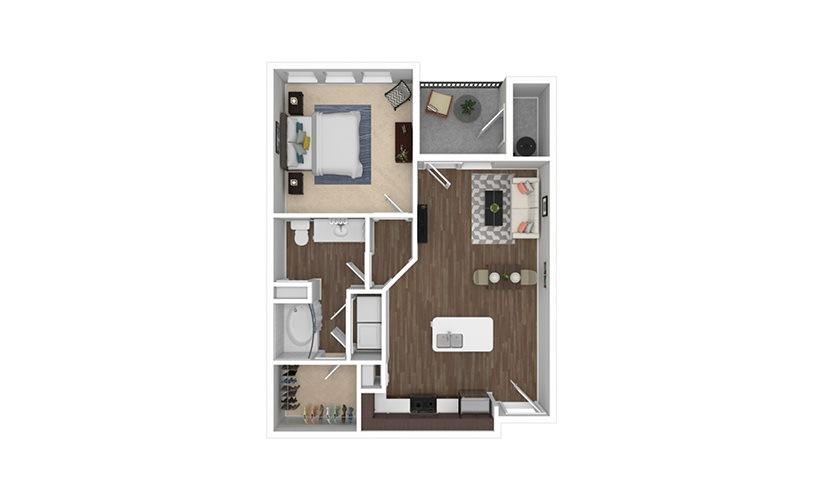A1 1 bedroom 1 bath 729 square feet