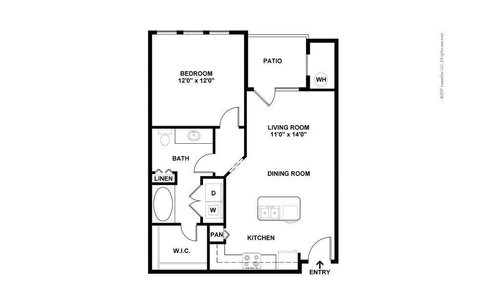 A1 1 bedroom 1 bath 729 square feet (2)