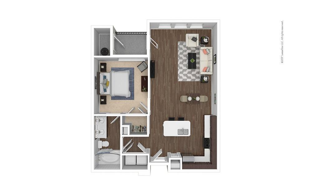 A2 1 bedroom 1 bath 796 square feet