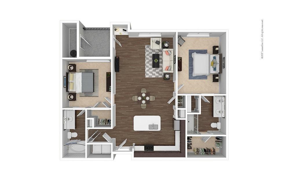 B1 2 bedroom 2 bath 1198 square feet