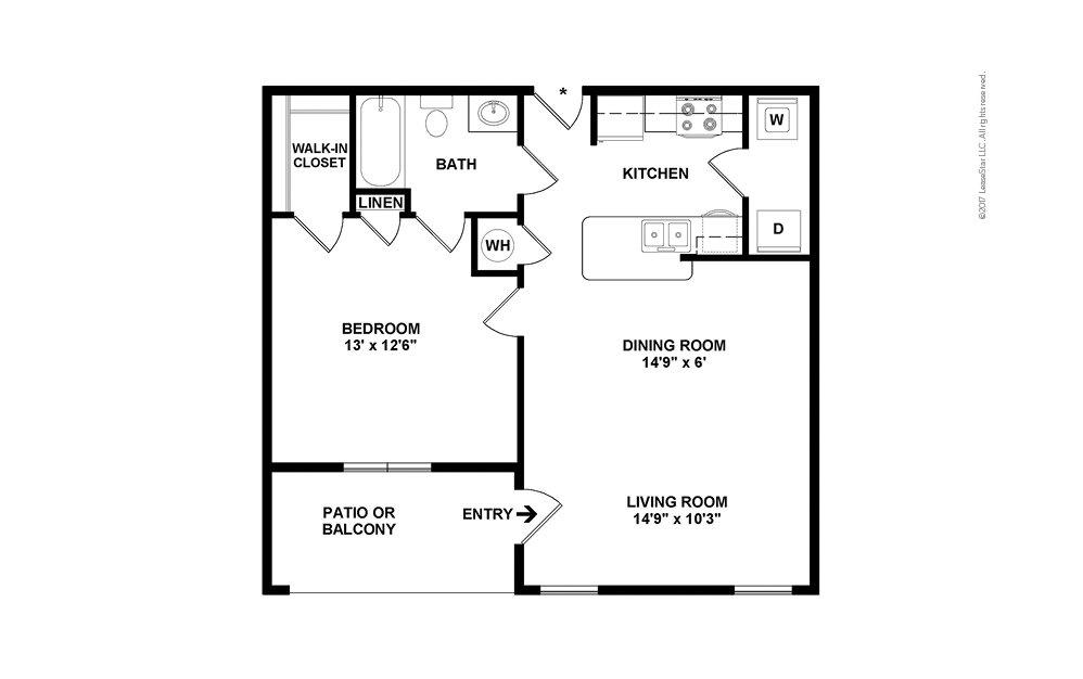 A1 1 bedroom 1 bath 667 square feet (2)