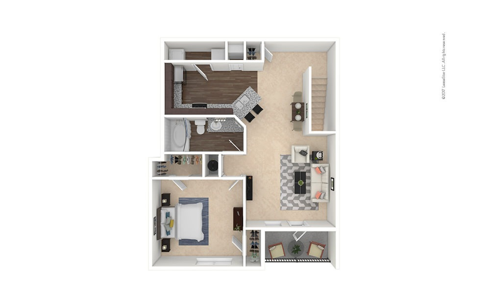 A3A-A4A 1 bedroom 1 bath 955 - 974 square feet