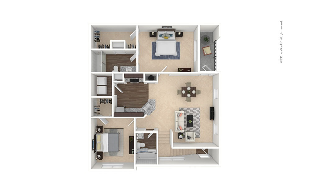 B2-B2A 2 bedroom 2 bath 1008 - 1149 square feet