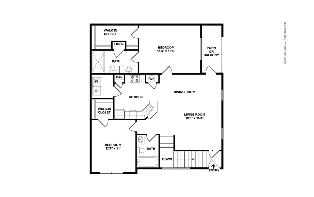 B2-B2A 2 bedroom 2 bath 1008 - 1149 square feet (2)