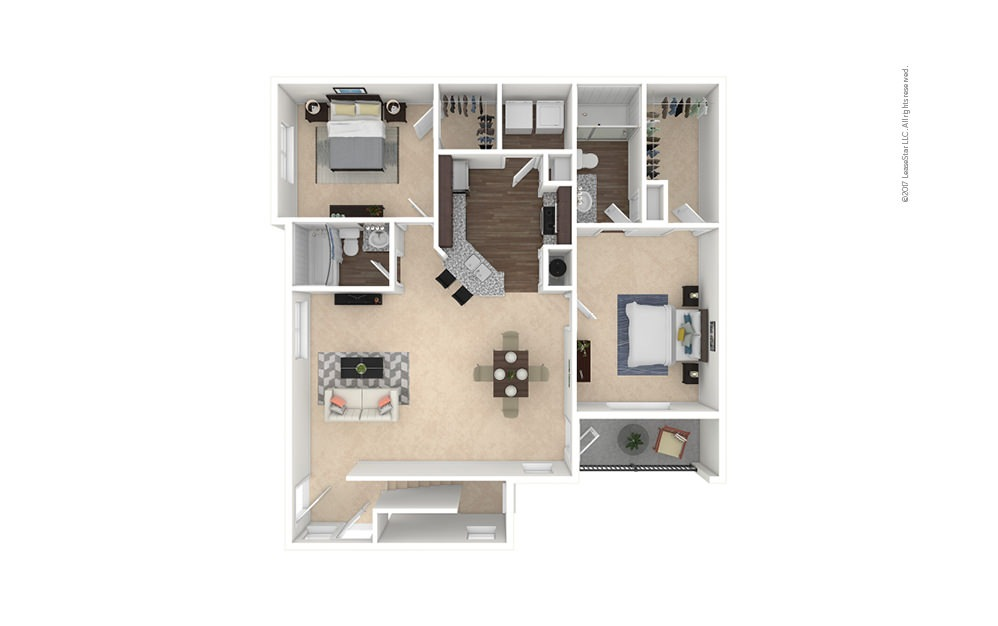 B3A 2 bedroom 2 bath 1244 square feet