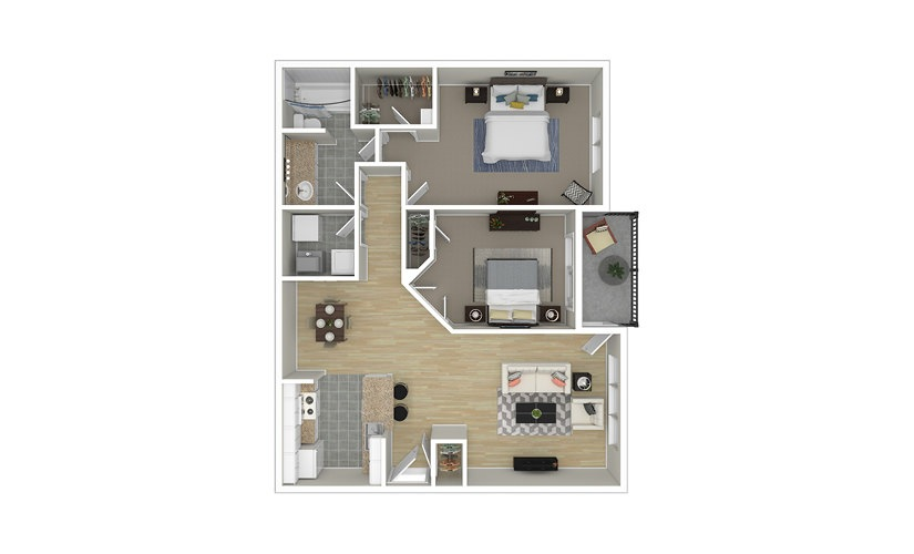 Pearl 2 bedroom 1 bath 1005 square feet