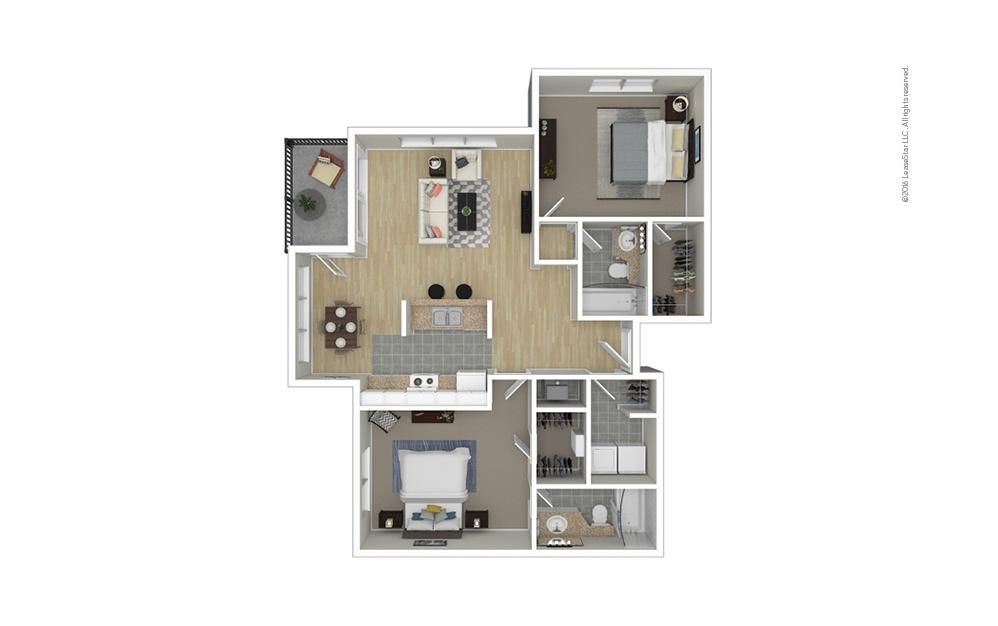 Pleasant 2 bedroom 2 bath 1050 square feet