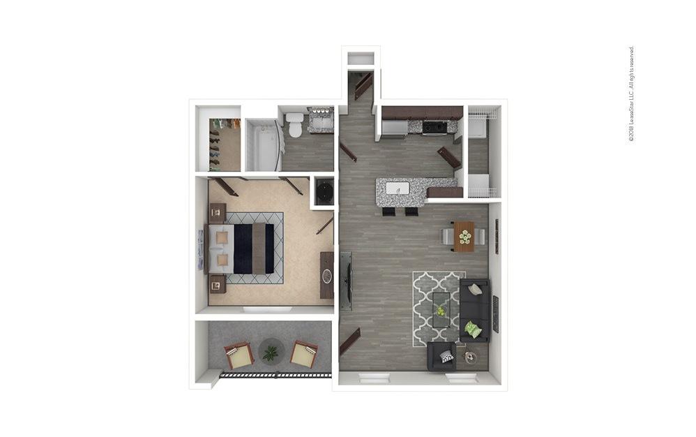A2 1 bedroom 1 bath 695 square feet
