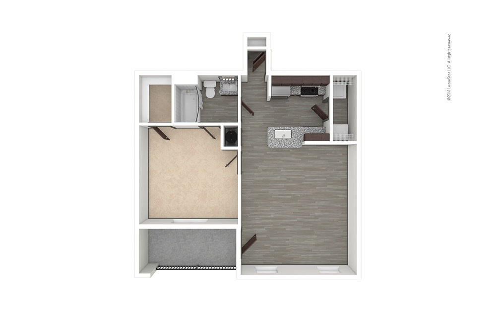 A2 1 bedroom 1 bath 695 square feet (1)
