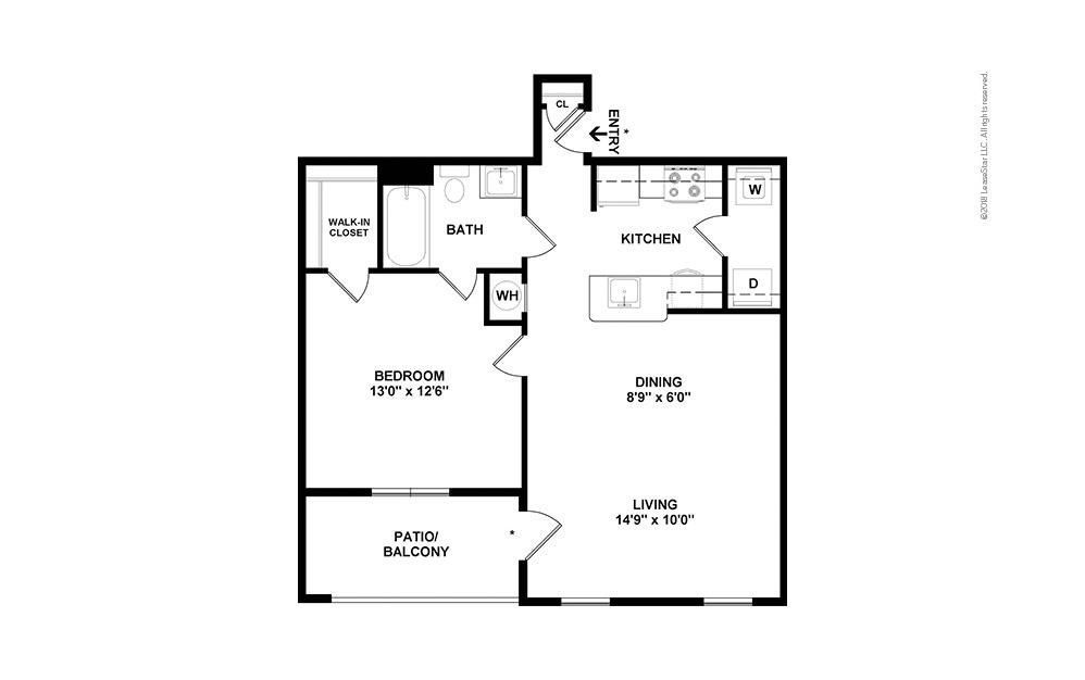 A2 1 bedroom 1 bath 695 square feet (2)