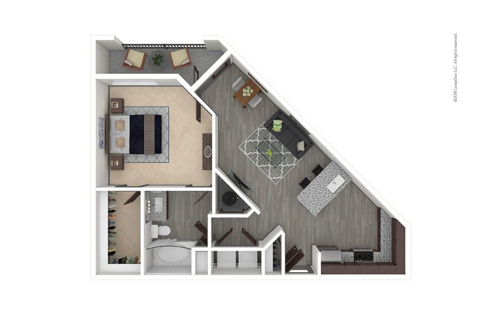 A4 1 bedroom 1 bath 815 square feet