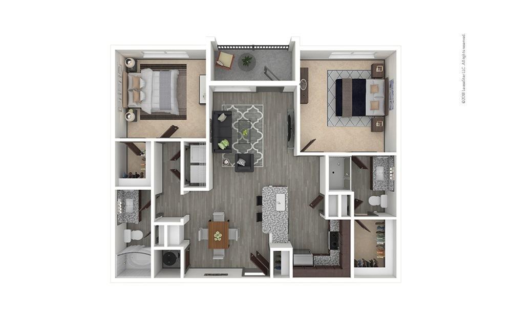 B1 2 bedroom 2 bath 1005 square feet
