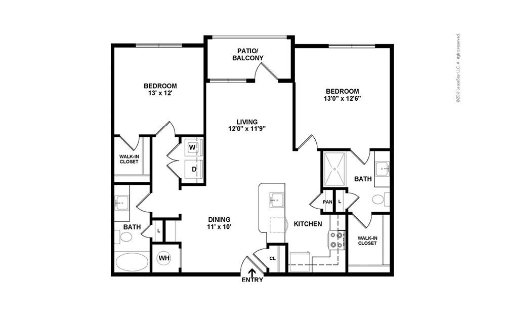 B1 2 bedroom 2 bath 1005 square feet (2)