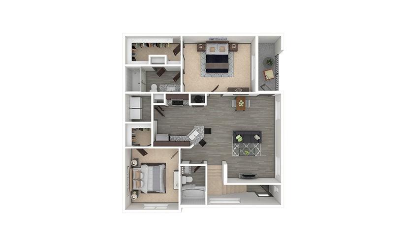 B3 2 bedroom 2 bath 1151 square feet