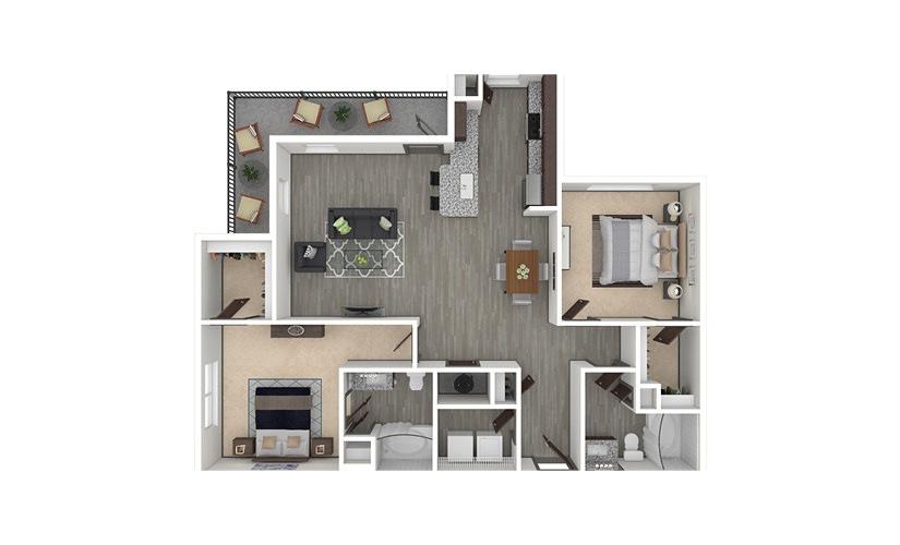 B4 2 bedroom 2 bath 1220 square feet