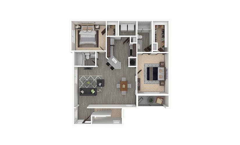 B6 2 bedroom 2 bath 1282 square feet