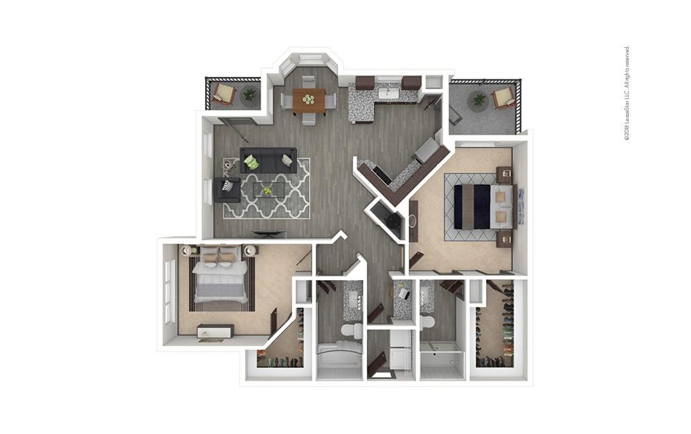 B7 2 bedroom 2 bath 1337 square feet