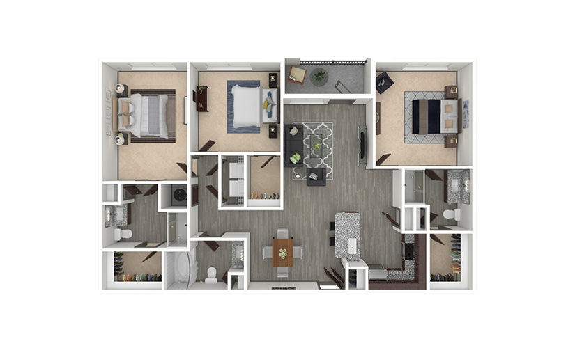 C1 3 bedroom 3 bath 1420 square feet
