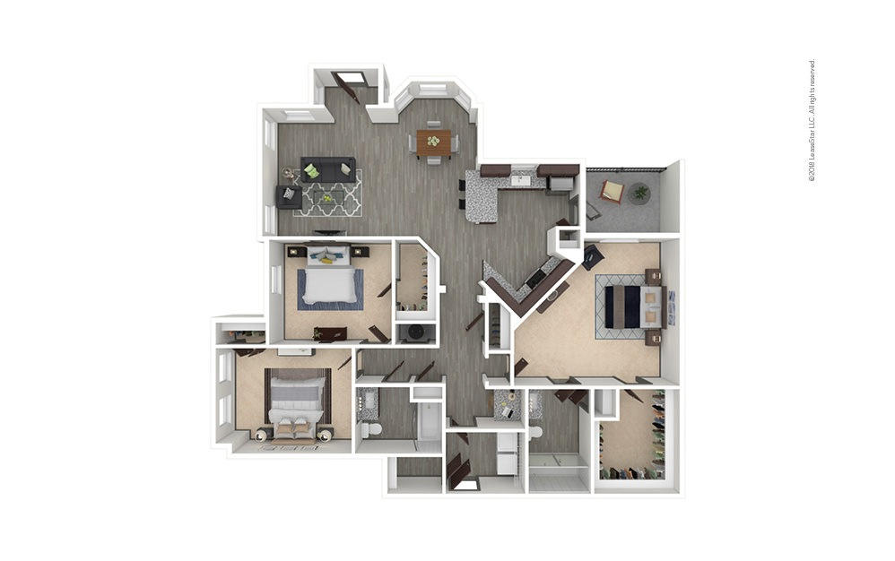 C3 3 bedroom 2 bath 1507 square feet