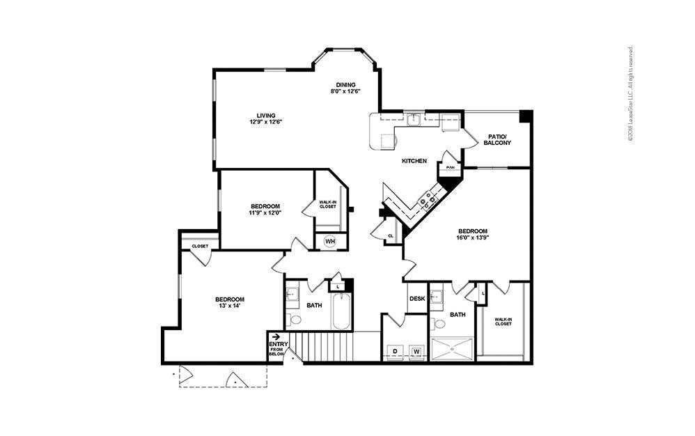 C4 3 bedroom 2 bath 1585 square feet (2)