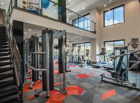 Two-Story Apartment Gym at Our Apartments in Pearland