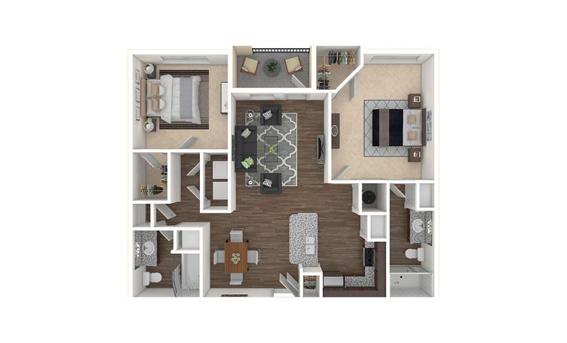 B1 2 bedroom 2 bath 1103 square feet